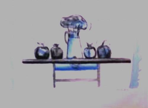 - Mesa intervenida en azul