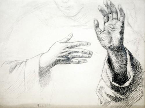 - Estudio de manos para La Ultima Cena