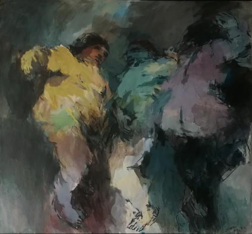 - Composición tres figuras verdes y amarillo