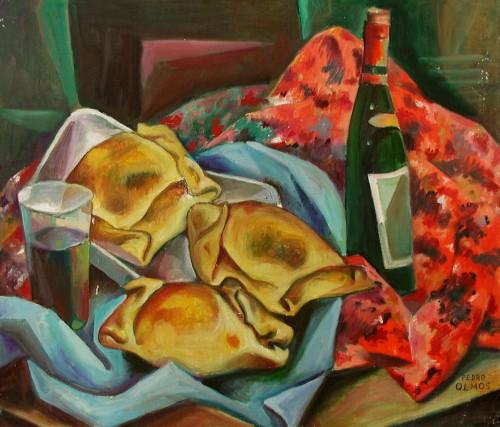 - Empanadas y vino tinto